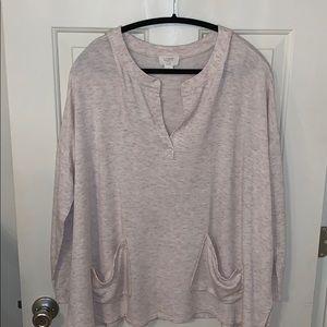 Loft  Heathered Pink V-neck Sweatshirt Size XL